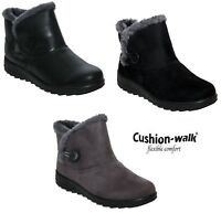 Womens Ladies Cushion Walk Lightweight Fur Lined Warm Winter Ankle Boots Size UK