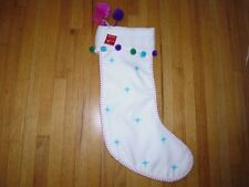 "New ! Holiday Christmas White Pom Christmas Stocking  22"" H"