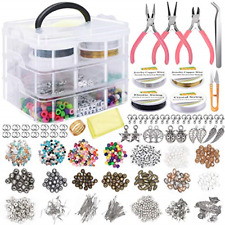 Jewelry Making Supplies Kit Tools Kit Includes Charms Findings Beads Wire Bra.