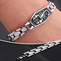 Fashion Men Titanium Steel Scorpion Motorcycle Chain Bangle Bracelet WristbNTPD