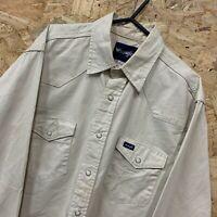 Vintage Wrangler Authentic Beige Denim Long Sleeve Popper Shirt   Men's Medium M