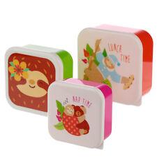 Set Of 3 Children's Kids Plastic Snack Lunch Boxes Sandwich Food Storage Box