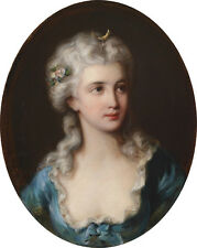 Oil painting Friedrich August Schilcher Lady in a Blue Dress Portrayed as Diana