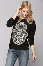 Truly Madly Deeply Womens Black Woman Namaste Zen Graphic Sweater Sz. XS