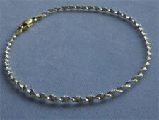 """Ankle Bracelet Gold/Sterling Silver Italy 925 New listing 11"""" Twisted Shimmery Two Tone"""