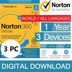 ANTIVIRUS NORTON 360 DELUXE Internet Security 2021 -3 Devices 3 PC ANDROID + VPN