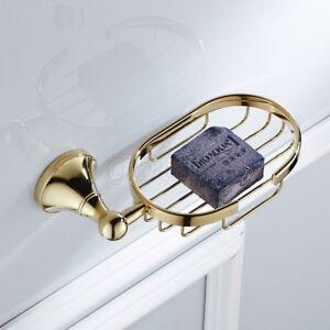 Polished Gold Brass Soap Dish Holder Wall Mount Bathroom Soap Storage Basket