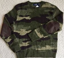 POLO RALPH LAUREN $265 Camo Wool Sweater Leather Elbow Patches Green Brown M