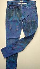 HUDSON SKINNY BLUE SPLATTERED JEANS 12 28 L 30 DESIGNER STRETCH PETITE UNUSUAL