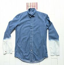 PAUL SMITH MEN'S RED EAR SHIRT Size Small - DENIM with Bleached Sleeves - COOL
