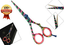 "5.5"" Professional Hairdressing Scissors Shears Black Zigzag Flower Salon Barber"