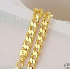 """Real 24K Yellow Gold Filled Necklace Cuban Curb Chain 23.6"""" Womens Mens Jewelry"""