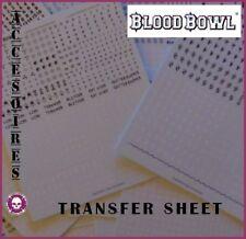 BLOOD BOWL TRANSFER SHEET