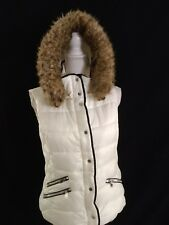 Zara Trafaluc Collection  Faux Fur Hood Puffer Vest Size Medium Cream Z11