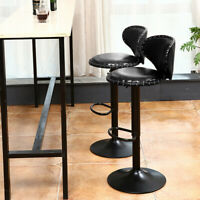 Set Of 2 Bar Stools Adjustable Hydraulic PU Leather Swivel Dining Chair Kitchen