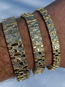 Real 14k Gold Over 925 Sterling Silver Mens Nugget Bracelet Heavy 8mm 12mm 16mm