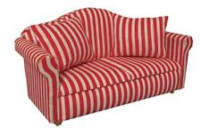 Dolls House Furniture: Red & White Striped Sofa in 12th scale