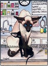 SIAMESE ORIENTAL CAT KITTEN VET ACEO PRINT FROM ORIG PAINTING BY SUZANNE LE GOOD