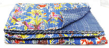 New Indian Kantha Quilt Bird Paradise Bedspread Tropical Cotton Reversible throw