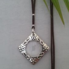Magnifying Glass Necklace - pendant flower silver cord brn long adjust statement