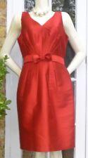 Hobbs Ladies Red Silk Wool Sleeveless Shift Dress Size UK 16