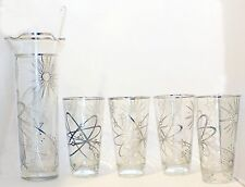 MARTINI COCKTAIL PITCHER DBL-SPOUT SILVER OVERLAY ATOMIC DECOR MATCHING TUMBLERS
