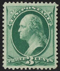 US Sc# 158 *MINT RG H* { -XF- 3c WASHINGTON } NICE CONTINENTAL BANK NOTE OF 1873