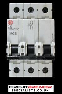 WYLEX 32 AMP TYPE C 10 kA TRIPLE POLE MCB CIRCUIT BREAKER PSB332-C