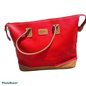 Oleg Cassini Red & Tan Jumbo Tote Bag Padlock & Keys