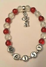 Personalised Teddy Bear Red Charm Beaded Bracelet Girl Birthday Gift Party Bags