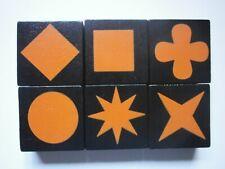 Lot of 6 ORANGE QWIRKLE Game Tiles Replacement Part Pieces Set ONE OF EACH SHAPE