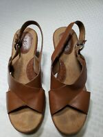 BOC Born Concept C55241 Brown Slingback Platform Wedge Sandals Shoes Size 8 / 39