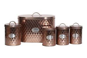 5pc Kitchen Set Bread Bin Tea Coffee Sugar Tins Biscuit Barrel Sealed Containers