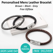 Barca Black Grey Leather & Stainless Steel Mens Personalised Engraved Bracelet