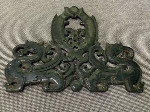 Chinese Unknown Age Jade or Stone Carving Two Dragons Supporting Kissing Fish
