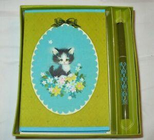 VTG HALLMARK PEN 'N NOTES KITTEN FLOWERS BLANK CARDS SET IN BOX