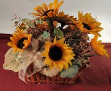 Sunflower Centerpiece Faux Flower Floral Arrangement in Basket