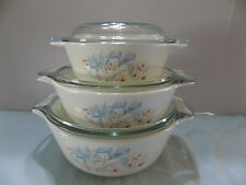 Corning Ware / Shadow Iris 3 Piece Casserole Dishes with Lids (Tx-11)