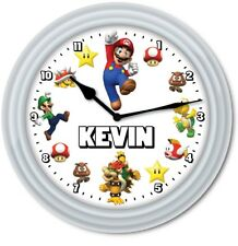 Super Mario PERSONALIZED Wall Clock - Video Game Room Kids Bedroom - GREAT GIFT