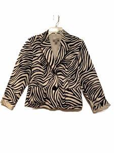 Joseph Ribkoff Womens Suit Jacket Blazer Beige Animal Print Pockets Zebra 12 New