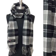 Men Women Winter Warm CASHMERE SCARF Wrap Plaid Black white gray SCOTLAND Wool