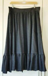 M&S Skirt Size 14 Charcoal Black Grey A-line Flare Ruffle Elastic Waist, Women's
