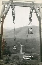 Rutland Vermont~Ladies on Pico Chair Lift~Cars Below~1950s Real Photo~RPPC
