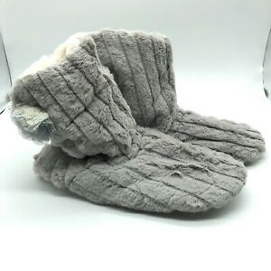 Womens Bootie Slippers Faux Fur Rubber Sole Gray Slip On US Size 10-11