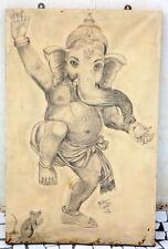 1996 Old Big Hindu God Ganesha Hand Sketch Collectible God Ganesha Pencil Sketch