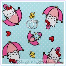 BonEful Fabric FQ Cotton Hello Kitty Umbrella Bird Aqua Pink Red White Polka Dot
