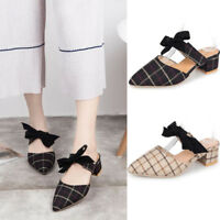 Women Pointed-Toe Bow-Knot Slipper Strap Shoes Mid Block Heel Mules Casual