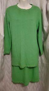 St. John Sport By Marie Gray Womens Knit Skirt Set Suit Green Size S