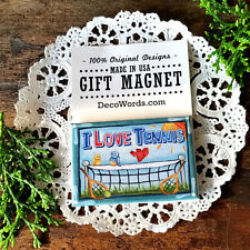 I Love TENNIS MAGNET * New in Pkg * Gift for team Player Racquet Court DecoWords