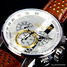Mens Invicta S1 Rally Silver Dial 18kt  Brown Leather Chronograph Watch New